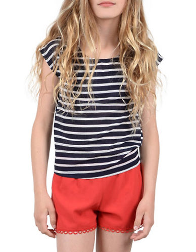 Mini Molly Striped Cap-Sleeve Top-NAVY BLUE-12-14
