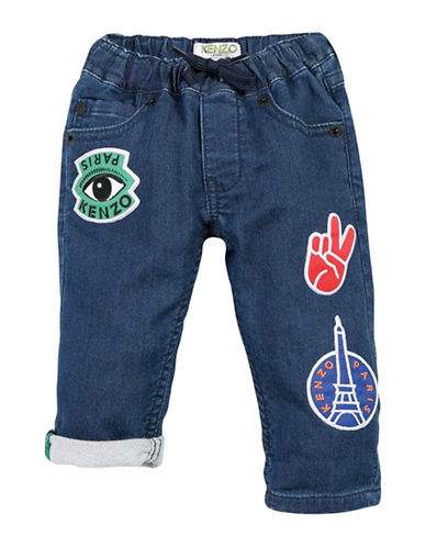 Kenzo Patch Denim Jersey Pants-BLUE-6 Months
