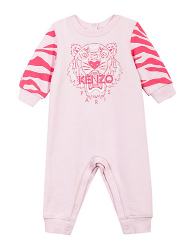 Kenzo Tiger Print Cotton Coverall-PINK-18 Months