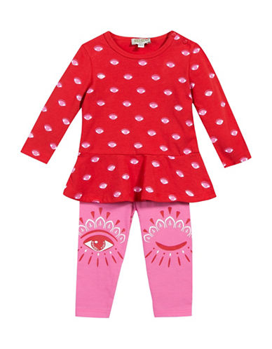 Kenzo Two-Piece Eye Tee and Leggings Set-RED-6 Months