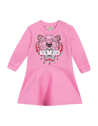 Kenzo Tiger Embroidered Cotton Dress-PINK-6 Months