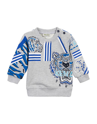 Kenzo Tiger Snap Cotton Sweatshirt-GREY-18 Months