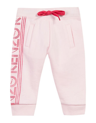 Kenzo Glittered Logo Cotton Sweatpants-PINK-6 Months