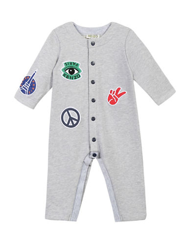 Kenzo Patch Cotton Coverall-GREY-9 Months