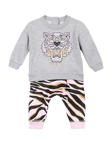 Kenzo Tiger Two-Piece Cotton Sweatshirt and Printed Sweatpants Set-GREY-18 Months