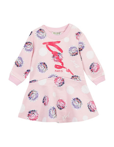 Kenzo Cleophee Logo Cotton Dress-PINK-24 Months