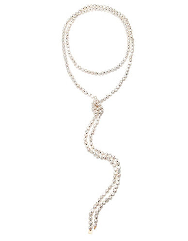 Ginette Ny 18K Rose Gold and 6MM White Pearl Sautoir Necklace-PEARL-One Size