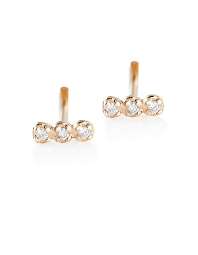 Ginette Ny 18K Rose Gold Looped Stud Earrings with 0.36 Total Carat Weight Diamonds-ROSE GOLD-One Size