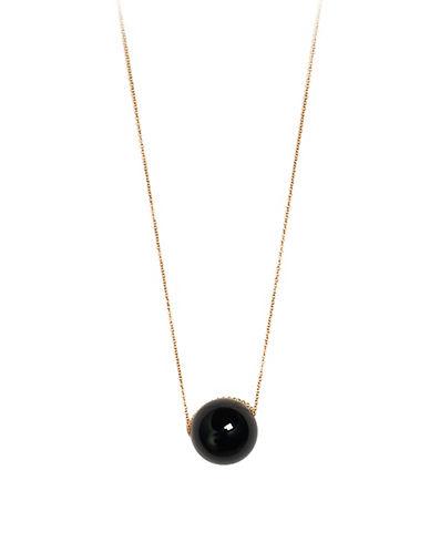 Ginette Ny Black Moon Onyx 18K Rose Gold Necklace-BLACK-One Size