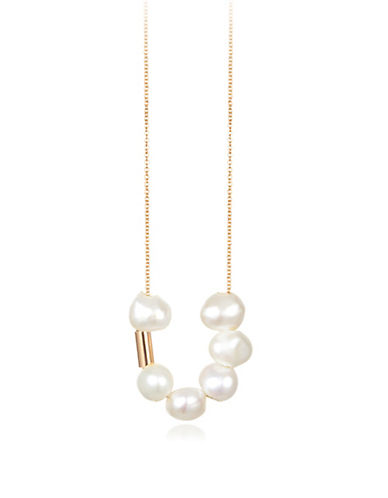Ginette Ny 18K Rose Gold Ceramic Bauble Necklace-PEARL-One Size