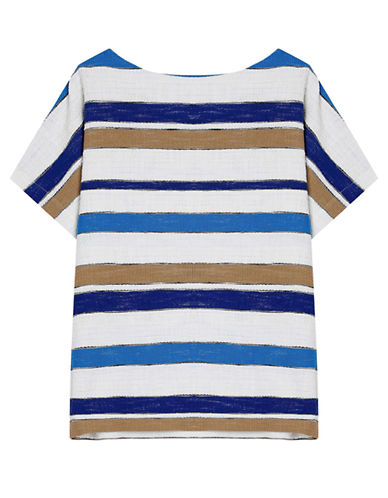 Gerard Darel Mixed Stripe Popcorn Knit Top-BLUE-EUR 34/US 2