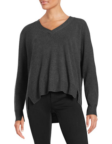 Gerard Darel V-Neck Wool-Cashmere Sweater-GREY-EUR 38/US 6