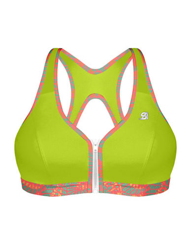 Shock Absorber High Support Zipped Plunge Sports Bra-LIME/TROPIC-36C 88818680_LIME/TROPIC_36C