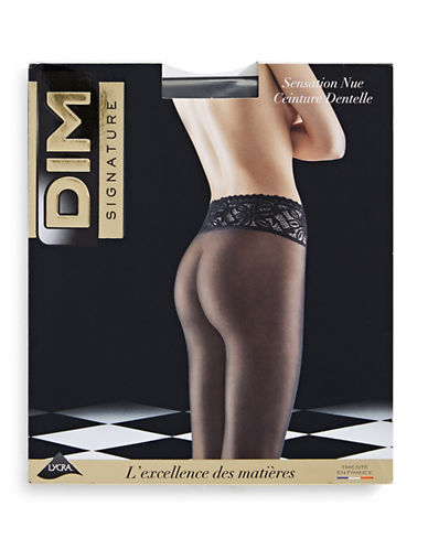 Dim Semi-Sheer Lace Belt Pantyhose-BLACK-1