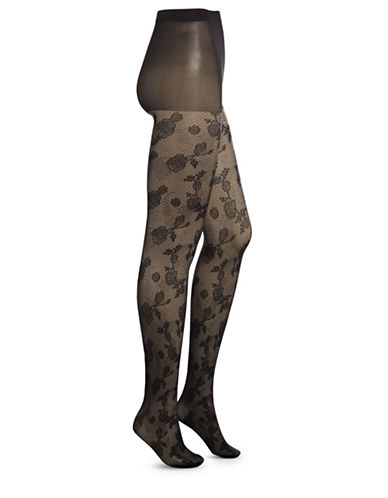 Dim Velvet Lace Tights-BLACK-3/4