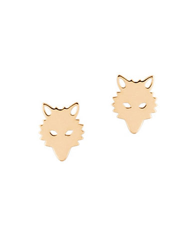 Ginette Ny 18K Rose Gold Wolf Stud Earrings-ROSE GOLD-One Size