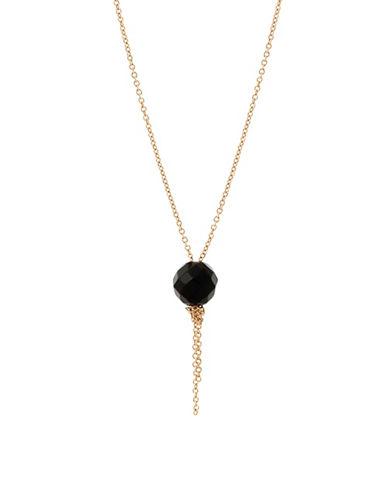 Ginette Ny Cadiz Onyx 18K Rose Gold Single Bead Necklace-ONYX-One Size