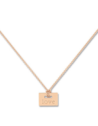 Ginette Ny 18K Mini Love Plate on Chain Necklace-ROSE GOLD-One Size