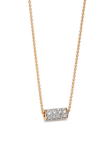 Ginette Ny 18K Rose Gold and 0.128 Total Carat Weight Diamond Cylinder Necklace-ROSE GOLD-One Size