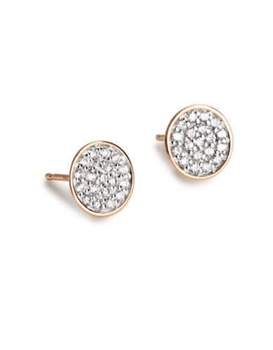 Ginette Ny Ellipses and Sequins 18K Rose Gold Round Stud Earrings with 0.19 TCW Diamonds-DIAMOND-One Size