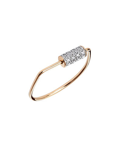 Ginette Ny Mini Straw 18K Rose Gold and 0.128 Total Carat Weight Diamond Ring-ROSE GOLD-6