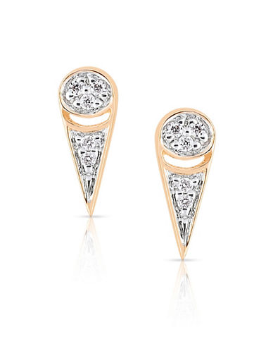Ginette Ny 18K Mrs.Joe Tiny Stud Earrings with 0.03 Total Carat Weight Diamonds-ROSE GOLD-One Size