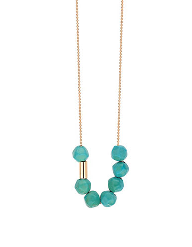 Ginette Ny 18K Rose Gold Sky Fall Turquoise Necklace-BLUE-One Size