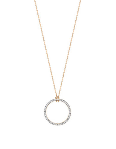 Ginette Ny 18K Rose Gold Circle Necklace with 0.14 Total Carat Weight Diamonds-ROSE GOLD-One Size