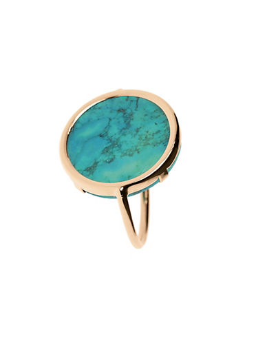 Ginette Ny 18K Rose Gold Fallen Sky Turquoise Disc Ring-BLUE-7