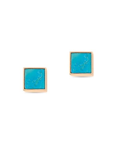 Ginette Ny Ever Turquoise 18K Rose Gold Square Stud Earrings-TURQUOISE-One Size