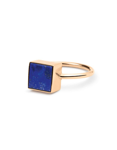 Ginette Ny Ever Lapis 18K Rose Gold Square Ring-LAPIS-6