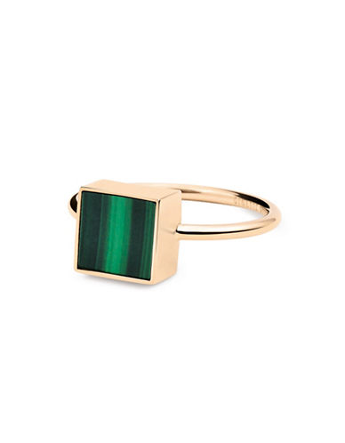 Ginette Ny Ever Malachite 18K Rose Gold Square Ring-MALACHITE-6