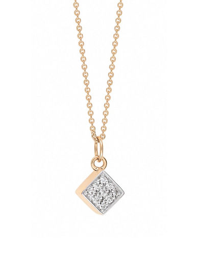 Ginette Ny Ever Diamond 18K Rose Gold Square Pendant Necklace with 0.05 TCW Diamonds-DIAMOND-One Size