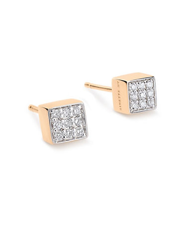 Ginette Ny Ever 18K Rose Gold Square Stud Earrings with 0.09 TCW Diamonds-DIAMOND-One Size