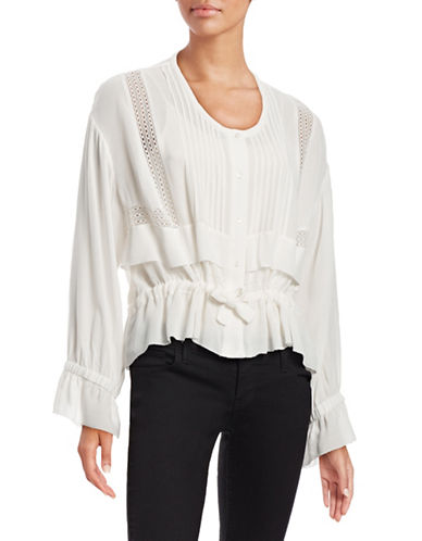 Iro Hi-Lo Pleated Yoke Blouse-WHITE-40