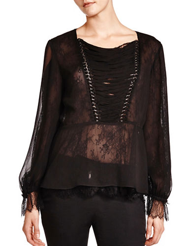 The Kooples Lace Chiffon Top-BLACK-Medium