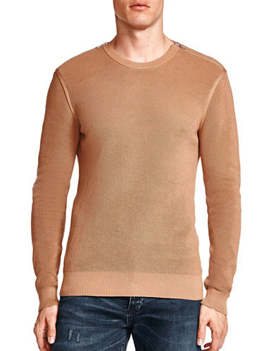 The Kooples Cotton Pearl Stitch Sweater-BROWN-Large