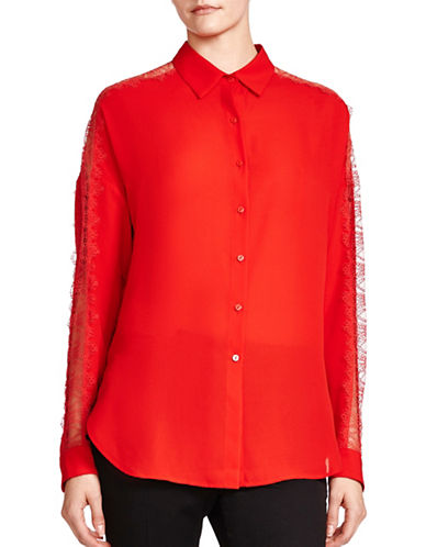 The Kooples Matt Crepe Lace Top-RED-XX-Small