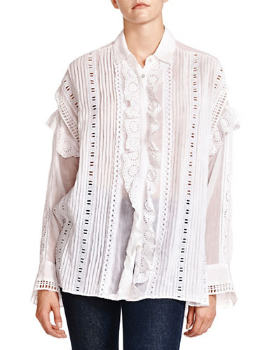 The Kooples Overdyed Cotton Collared Shirt-WHITE-X-Small