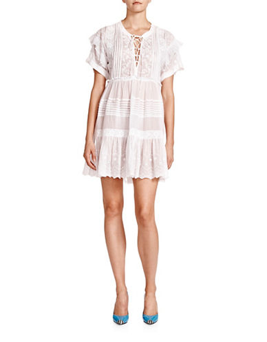 The Kooples Ruffled Sleeve Embroidered Shift Dress-WHITE-Small