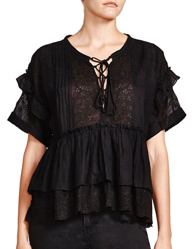 The Kooples Embroidered Cotton Top-BLACK-X-Small