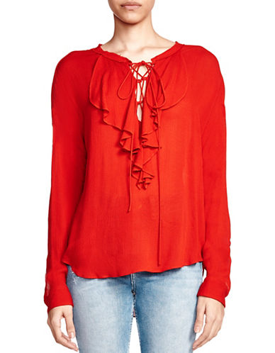 The Kooples Tie-Up Ruffled Silk Top-RED-XX-Small