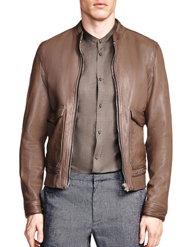 The Kooples Aviator Leather Jacket-BEIGE-X-Large