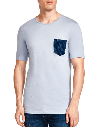 The Kooples Jersey Pocket Cotton Tee-BLUE-Small
