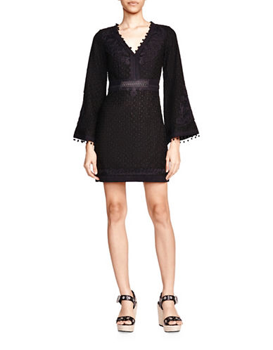 The Kooples Embroidered Bell Sleeve Sheath Dress-BLACK-Large