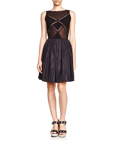 The Kooples Lace Panelled Dress-BLACK-Medium