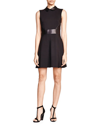 The Kooples Leather Trim Collared Dress-BLACK-40