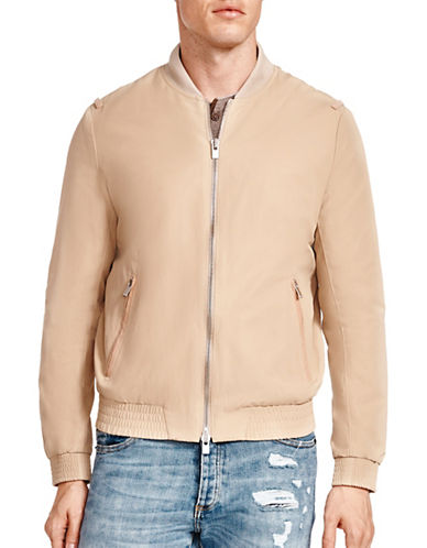 The Kooples Full Zip Bomber Jacket-BEIGE-X-Large