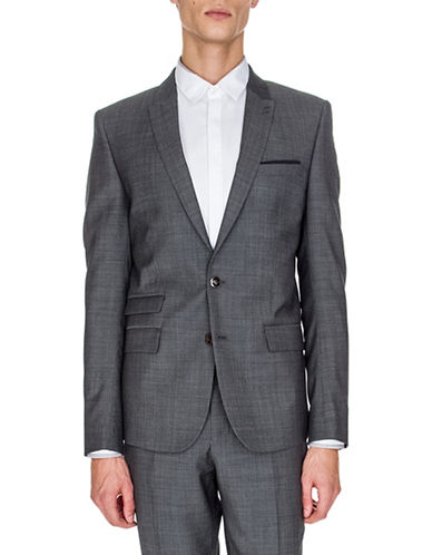 The Kooples Slim-Fit Wool-Blend Blazer-GREY-46
