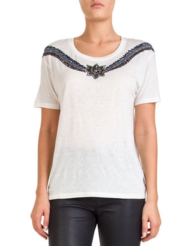 The Kooples Embellished Jersey Tee-BEIGE-Small